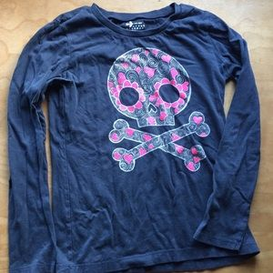 Sugar Skull Cute or Spooky! Old Navy Gray/Blue Top
